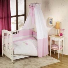 Set lenjerie de pat 5 piese Elefante Pink Nino - Lenjerie pat copii Nino, Roz
