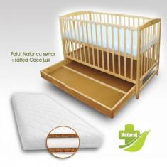 Patut Natur cu sertar si Saltea Coco Lux 120 x 60 cm First Smile - Patut lemn pentru bebelusi First Smile, Maro