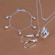 Set bijuterii placat argint 925 inel+cercei dama +lant+pandantiv poze reale - Set bijuterii argint