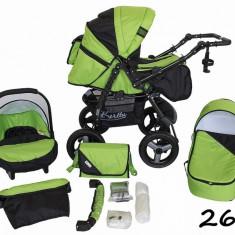 Carucior 3 in 1 Vip 26 (Verde cu Negru) Kerttu - Carucior copii 3 in 1