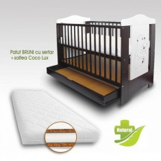 Patut Bruni cu sertar si Saltea Coco Lux 120 x 60 cm First Smile - Patut lemn pentru bebelusi First Smile, Maro