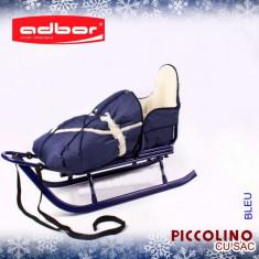 Saniuta pentru copii Piccolino cu saculet Bleumarin Adbor - Sanie
