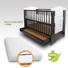 Patut copii cu sertar Bruni si Saltea Coco 120 x 60 cm First Smile - Patut lemn pentru bebelusi First Smile, Maro