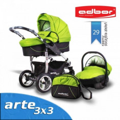 Carucior 3 in 1 Arte 3x3 29 (Verde cu Negru) Adbor - Carucior copii 3 in 1