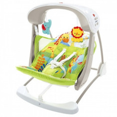 Leagan 2 in 1 Rainforest Friends Take Along Fisher Price - Balansoar interior Fisher Price, Verde