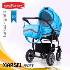 Carucior 3 in 1 Marsel Sport 60 (Albastru deschis) Adbor - Carucior copii 3 in 1