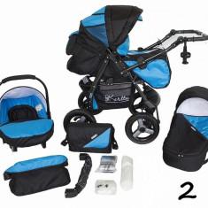 Carucior 3 in 1 Vip 2 (Negru cu Albastru) Kerttu - Carucior copii 3 in 1