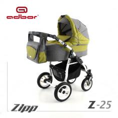 Carucior 3 in 1 Zipp Z-25 Cadru Alb Adbor - Carucior copii 3 in 1