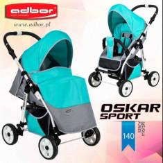 Carucior sport Oskar Sport 140 (Gri deschis cu Turquoise) Adbor - Carucior copii Sport