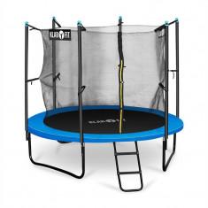 Klarfit Rocketboy 250, 250 cm trambulină, plasă internă de securitate, scară largă, albastră - Trambulina copii