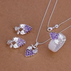 Set bijuterii placat argint 925 lant, pandantiv, inel si cercei poze reale - Set bijuterii argint