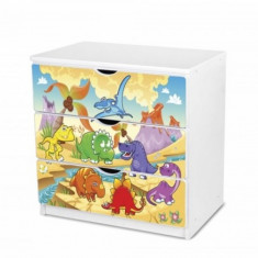 Comoda cu 3 sertare si polita birou 51 (Dinozauri) Nobiko - Dulap copii