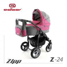 Carucior 2 in 1 Zipp Z-24 Cadru Negru Adbor - Carucior copii 2 in 1