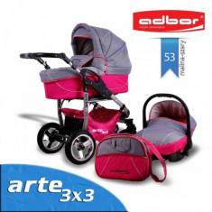 Carucior 3 in 1 Arte 3x3 53 (Fucsia cu Gri deschis) Adbor - Carucior copii 3 in 1