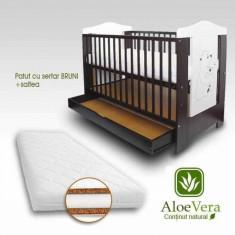 Patut copii cu sertar Bruni si Saltea Aloe Vera 120 x 60 cm First Smile - Patut lemn pentru bebelusi First Smile, Negru