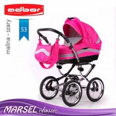 Carucior 3 in 1 Marsel Classic 53 (Fucsia cu Gri deschis) Adbor - Carucior copii 3 in 1