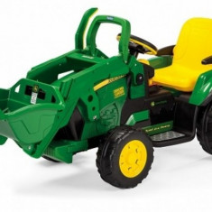Tractor electric 12V Ground Loader John Deere Peg Perego - Masinuta electrica copii Peg Perego, Verde