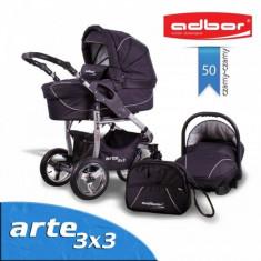 Carucior 3 in 1 Arte 3x3 50 (Negru) Adbor - Carucior copii 3 in 1