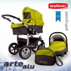 Carucior 3 in 1 Arte Alu 3x3 55 (Grafit cu Verde) Adbor - Carucior copii 3 in 1