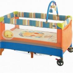 Patut pliant cu doua nivele 120 x 60 cm S06 (Dungi multicolore) Jane - Patut pliant bebelusi