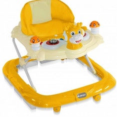 Premergator cu 4 roti si protectie trepte Bambi Orange Bertoni, 0-6 luni, Plastic, Portocaliu