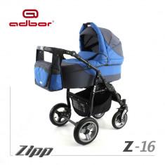 Carucior 2 in 1 Zipp Z-16 Cadru Negru Adbor - Carucior copii 2 in 1