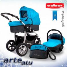 Carucior 3 in 1 Arte Alu 3x3 14 (Grafit cu Turquoise) Adbor - Carucior copii 3 in 1