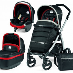 Carucior 3 in 1 Book Plus Black and Silver Pop-Up Synergy Peg Perego - Carucior copii 3 in 1