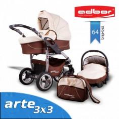Carucior 3 in 1 Arte 3x3 64 (Maro cu Bej) Adbor - Carucior copii 3 in 1