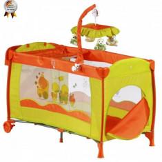 Patut pliant cu 2 nivele si carusel Sleeper Deluxe 120 x 60 Orange BabyGo - Patut pliant bebelusi BabyGo, 120x60cm, Portocaliu