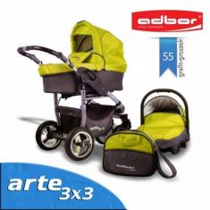 Carucior 3 in 1 Arte 3x3 55 (Grafit cu Verde) Adbor - Carucior copii 3 in 1