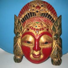 Masca veche colorata lemn, stare buna. Marimi: 27_20cm, 400 grame. - Arta din Asia