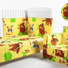 Lenjerie 4 piese 120 x 60 Lion King BebeDeco - Lenjerie pat copii BebeDeco, Verde