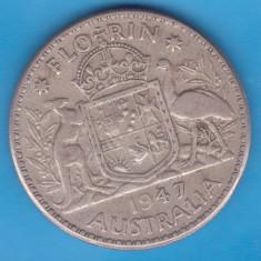 (1) MONEDA DIN ARGINT AUSTRALIA - 1 FLORIN 1947, Australia si Oceania