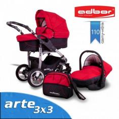 Carucior 3 in 1 Arte 3x3 110 (Rosu cu Negru) Adbor - Carucior copii 3 in 1