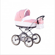 Carucior copii 2 in 1 Marita Prestige S50 (Roz cu Alb) Roan