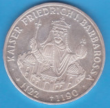 (1) MONEDA DIN ARGINT GERMANIA - 10 MARK 1990,LIT. F,KAISER FRIEDRICH BARBAROSSA, Europa