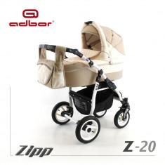 Carucior 2 in 1 Zipp Z-20 Cadru Alb Adbor - Carucior copii 2 in 1