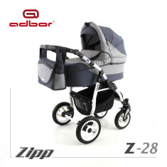 Carucior 2 in 1 Zipp Z-28 Cadru Alb Adbor - Carucior copii 2 in 1
