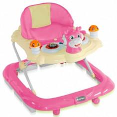 Premergator cu 4 roti si protectie trepte Bambi Pink Bertoni, 0-6 luni, Plastic, Roz