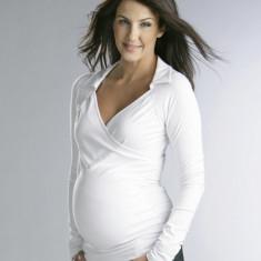 Bluza alba cu decolteu V gravide Funmum L FunMum - Bluza gravide