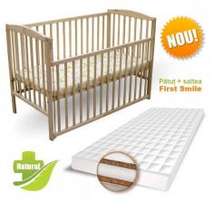 Patut Culisant cu Saltea Coco Lux 120 x 60 cm Natur First Smile - Patut lemn pentru bebelusi First Smile, Maro