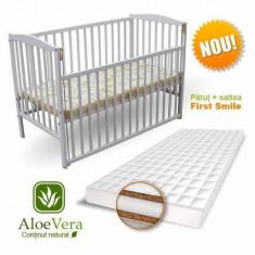 Patut Culisant cu Saltea Aloe Vera 120 x 60 cm Alb First Smile - Patut lemn pentru bebelusi