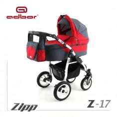 Carucior 3 in 1 Zipp Z-17 Cadru Alb Adbor - Carucior copii 3 in 1