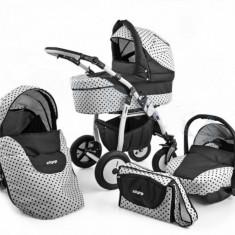 Carucior 3 in 1 Zipp Black & White Alb cu Buline Negre Adbor - Carucior copii 3 in 1