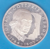 (2) MONEDA DIN ARGINT GERMANIA - 10 MARK 1994, LIT. G, JOHANN GOTTFRIED HERDER, Europa