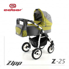 Carucior 2 in 1 Zipp Z-25 Cadru Alb Adbor - Carucior copii 2 in 1