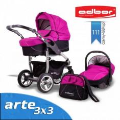 Carucior 3 in 1 Arte 3x3 111 (Fucsia cu Negru) Adbor - Carucior copii 3 in 1