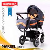 Carucior 3 in 1 Marsel Sport 2 (Gri inchis cu Portocaliu) Adbor