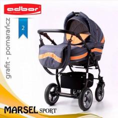 Carucior 3 in 1 Marsel Sport 2 (Gri inchis cu Portocaliu) Adbor - Carucior copii 3 in 1
